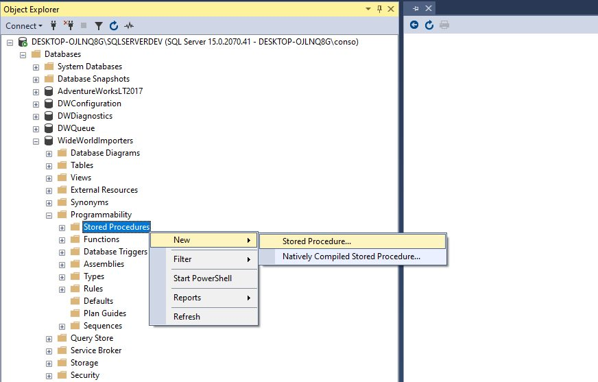 Creating stored procedure in ssms Step 1